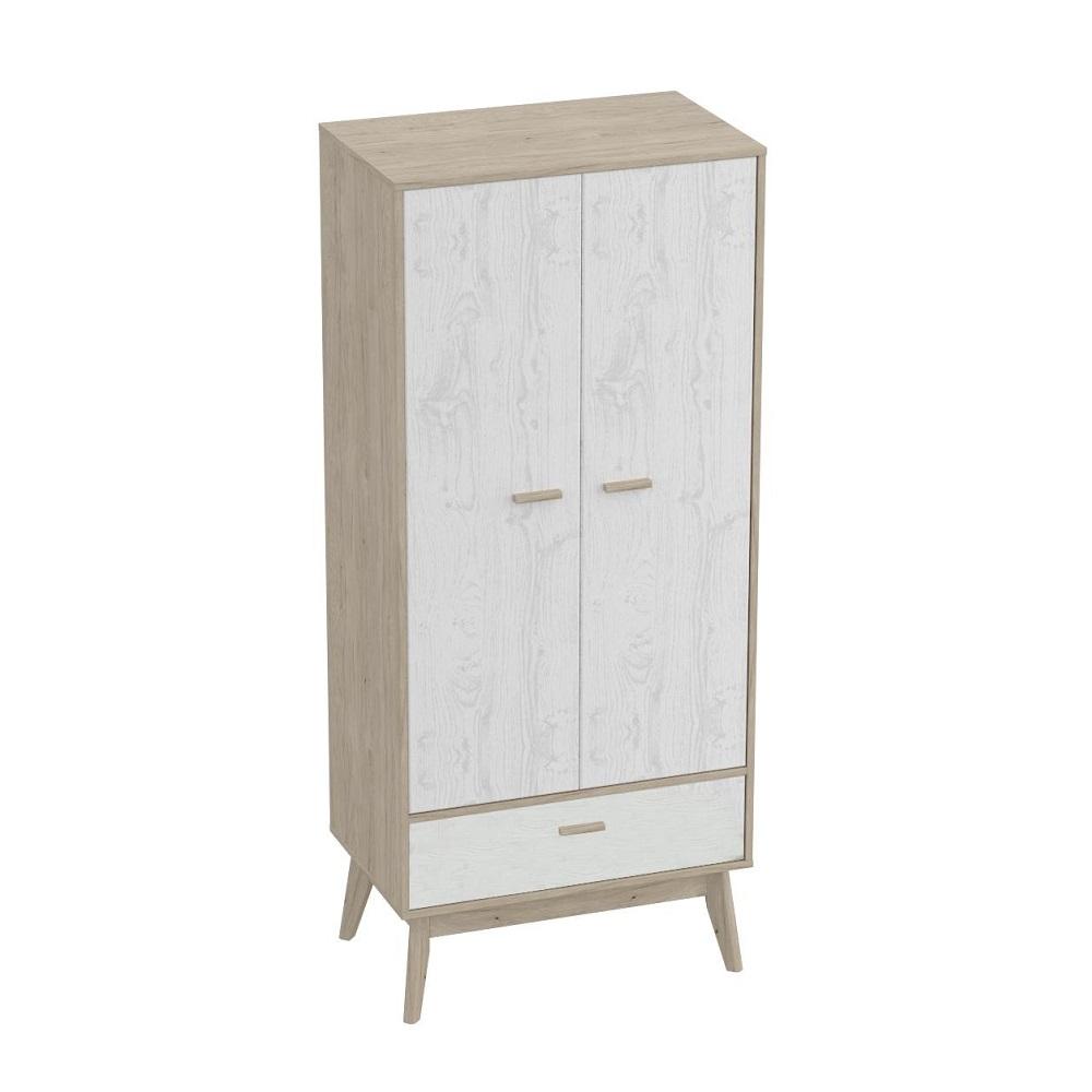 Шкаф для одежды КАЛГАРИ (Дуб натуральный светлый/Айс 06)