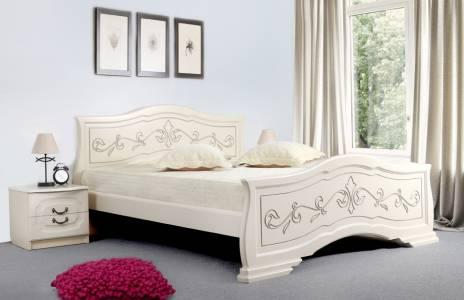 Кровать 900 ЛЮДМИЛА-14 (Ясень жемчужный с патиной)