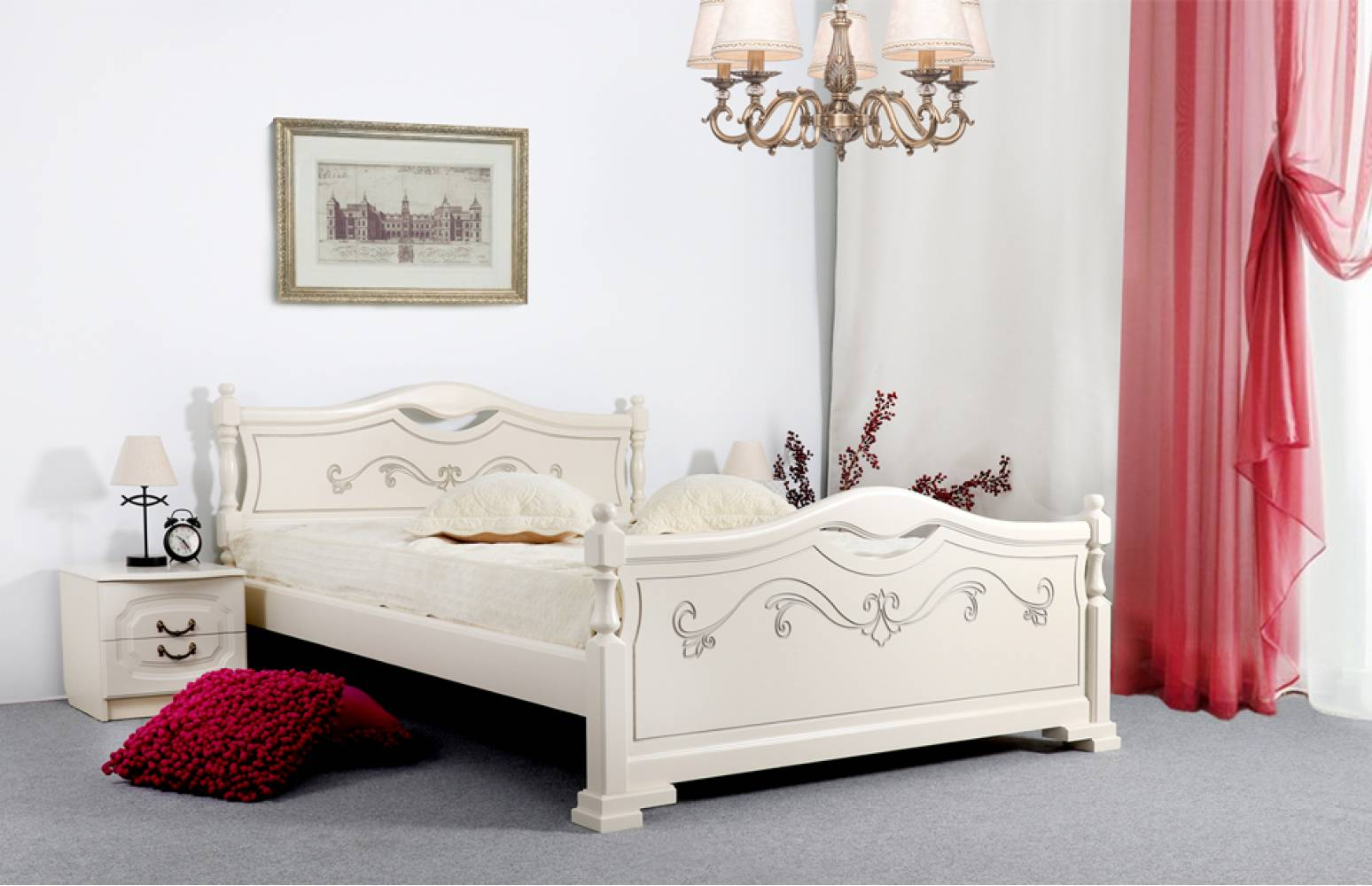 Кровать 1400 ЛЮДМИЛА-16 (Ясень жемчужный с патиной)