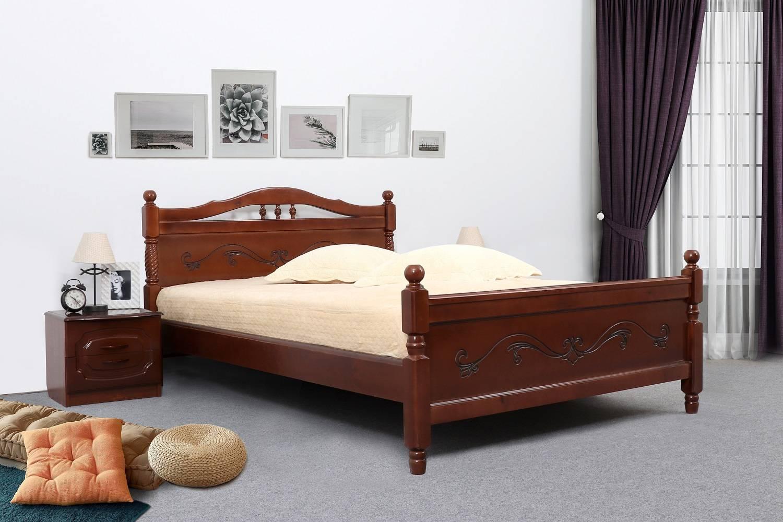 Кровать 1200 ЛЮДМИЛА-17 (Орех светлый с патиной)