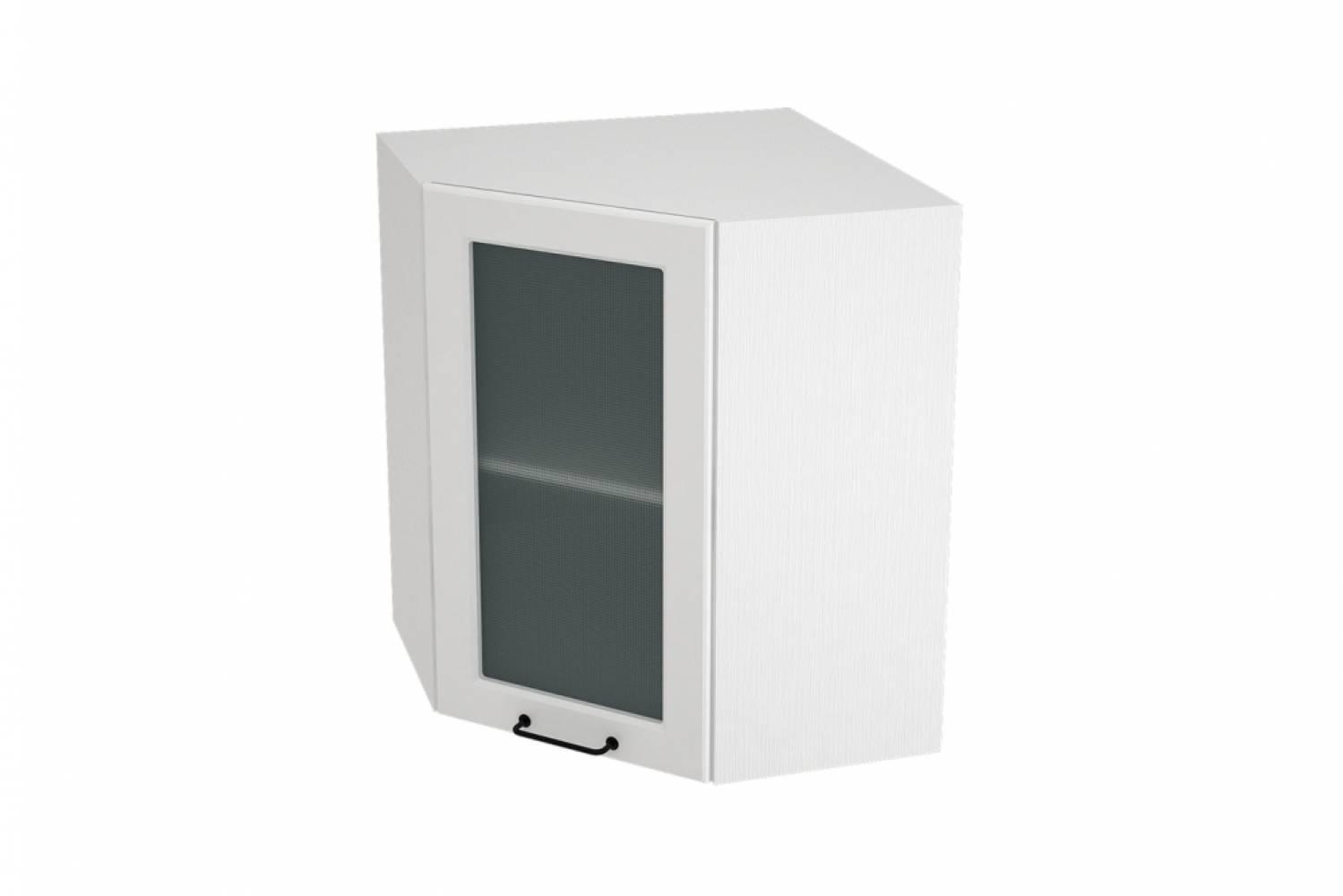 Шкаф верхний угловой со стеклом ШВУС 590 НИЦЦА ROYAL (BLANCO) 590 мм