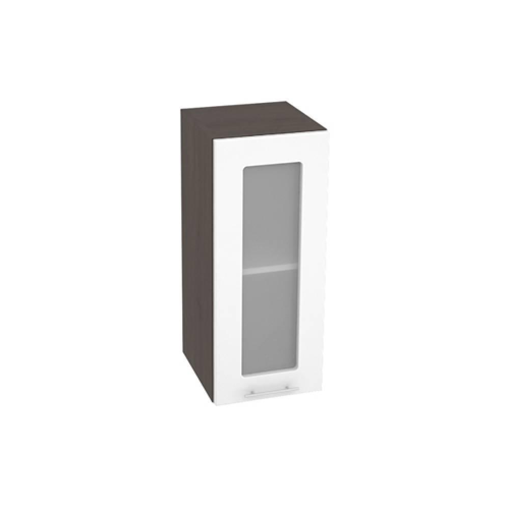 Шкаф верхний со стеклом ШВС 300 ВАЛЕРИЯ 1 (Белый глянец) 300 мм