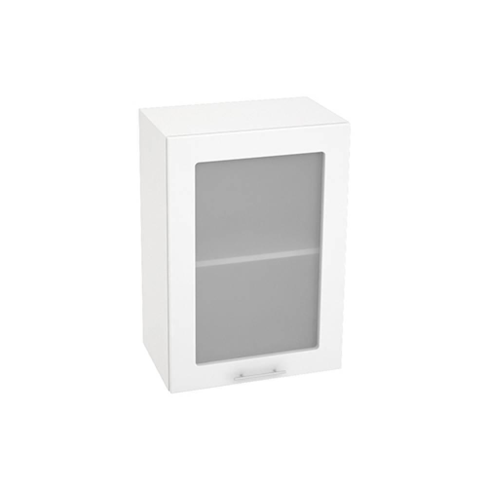 Шкаф верхний со стеклом ШВС 500 ВАЛЕРИЯ 1 (Белый глянец) 500 мм