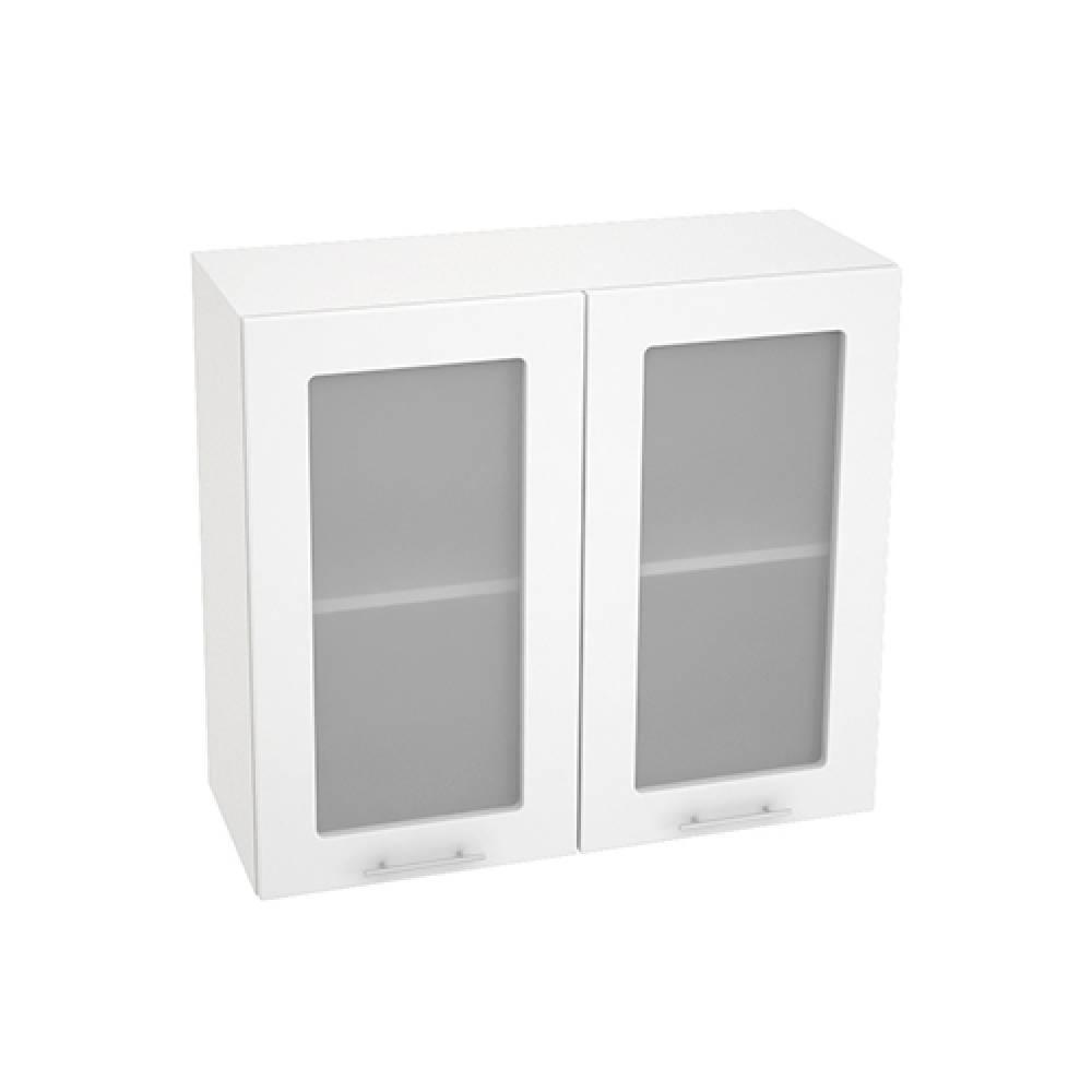 Шкаф верхний со стеклом ШВС 800 ВАЛЕРИЯ 1 (Белый глянец) 800 мм