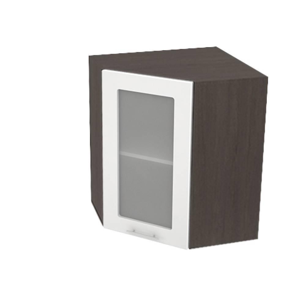 Шкаф верхний угловой со стеклом ШВУС 590 ВАЛЕРИЯ 1 (Белый глянец) 590 мм