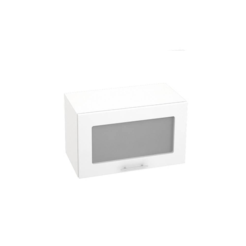 Шкаф верхний горизонтальный со стеклом ШВГС 600 ВАЛЕРИЯ 1 (Белый глянец) 600 мм