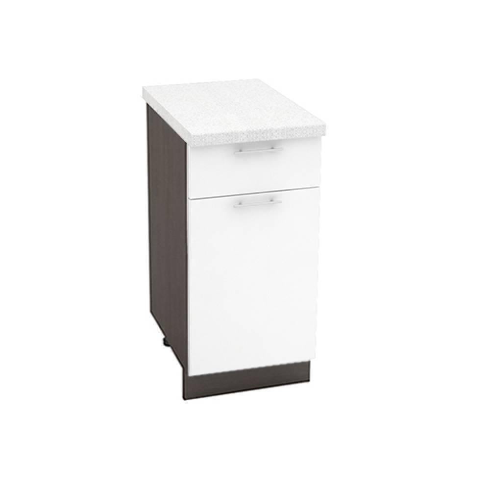 Шкаф нижний с 1 ящиком ШН1Я 400 ВАЛЕРИЯ 1 (Белый глянец) 400 мм