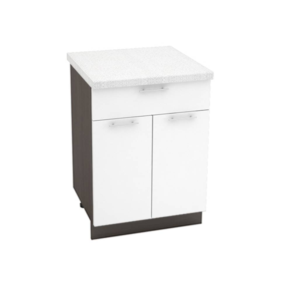 Шкаф нижний с 1 ящиком ШН1Я 600М ВАЛЕРИЯ 1 (Белый глянец) 600 мм