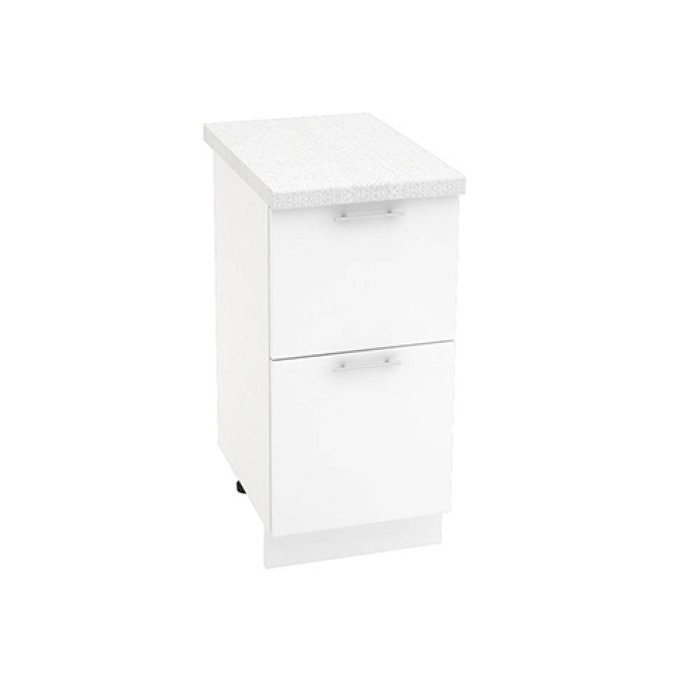 Шкаф нижний с 2 ящиками ШН2Я 400 ВАЛЕРИЯ 1 (Белый глянец) 400 мм
