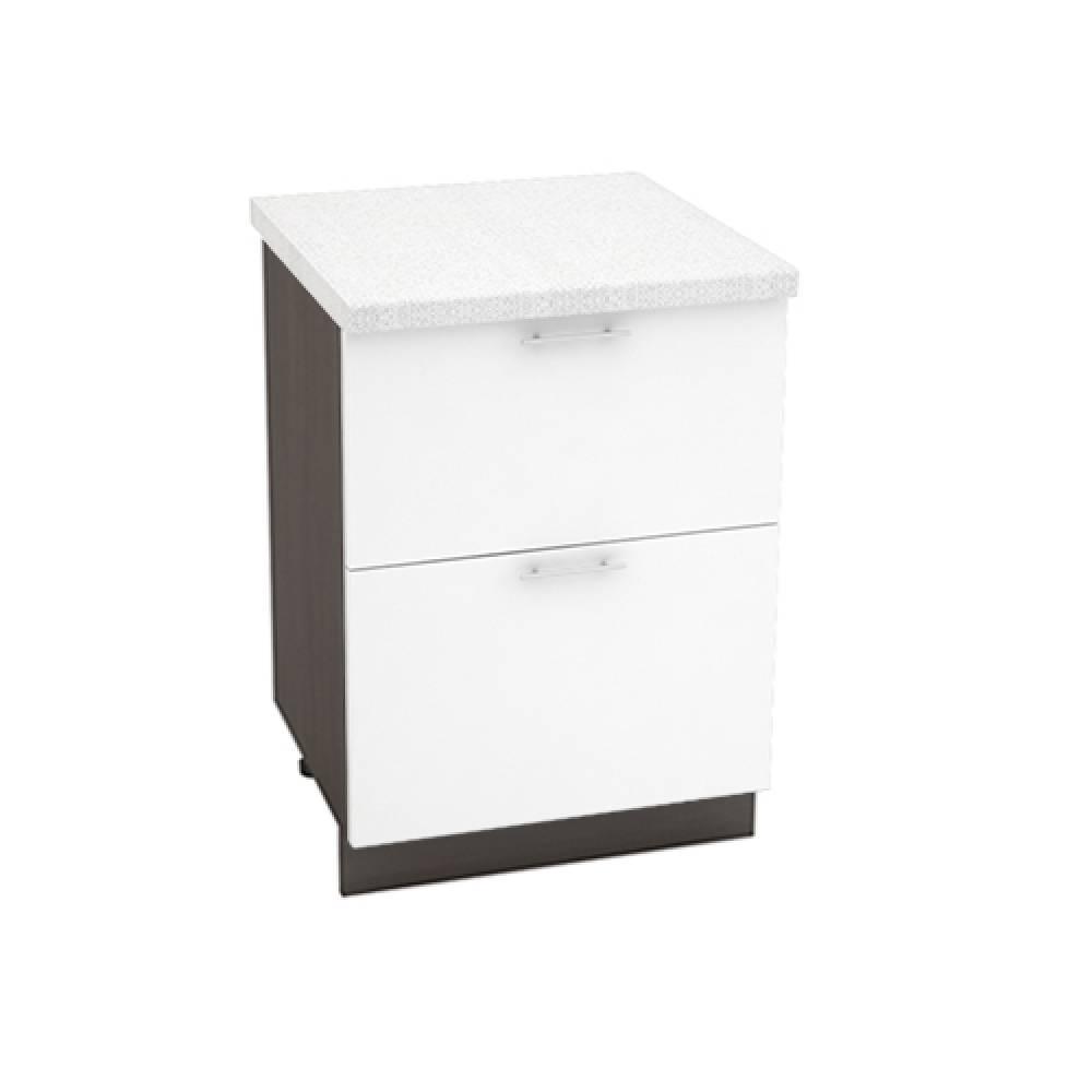 Шкаф нижний с 2 ящиками ШН2Я 600 ВАЛЕРИЯ 1 (Белый глянец) 600 мм