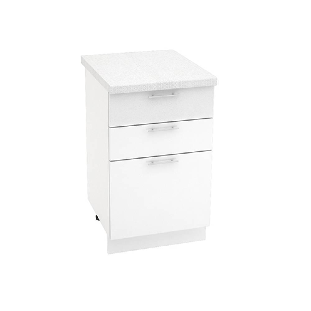 Шкаф нижний с 3 ящиками ШН3Я 500 ВАЛЕРИЯ 1 (Белый глянец) 500 мм