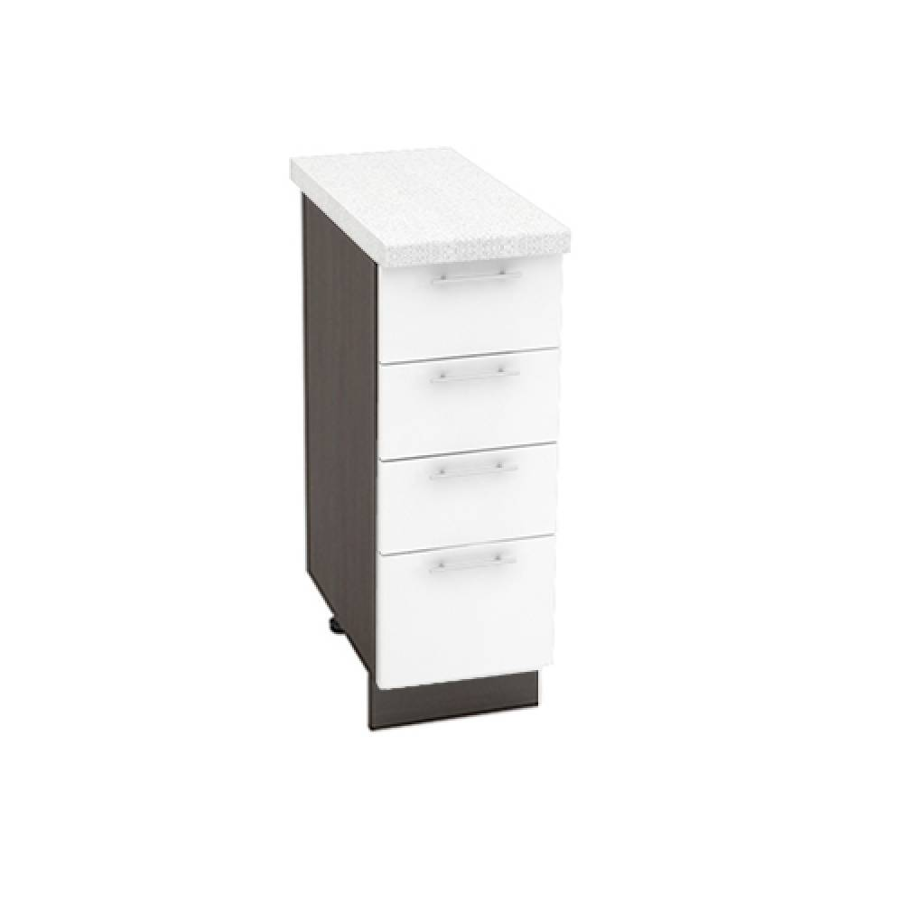 Шкаф нижний с 4 ящиками ШН4Я 300 ВАЛЕРИЯ 1 (Белый глянец) 300 мм