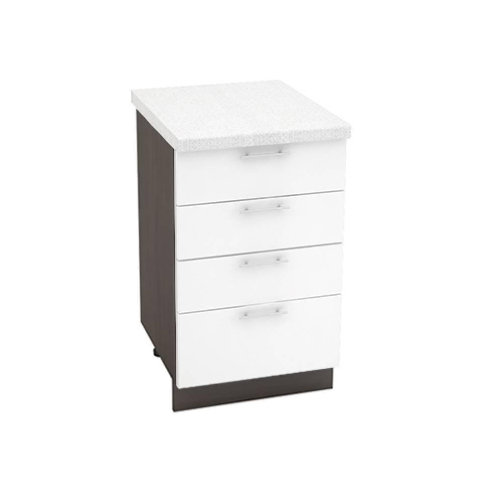 Шкаф нижний с 4 ящиками ШН4Я 500 ВАЛЕРИЯ 1 (Белый глянец) 500 мм