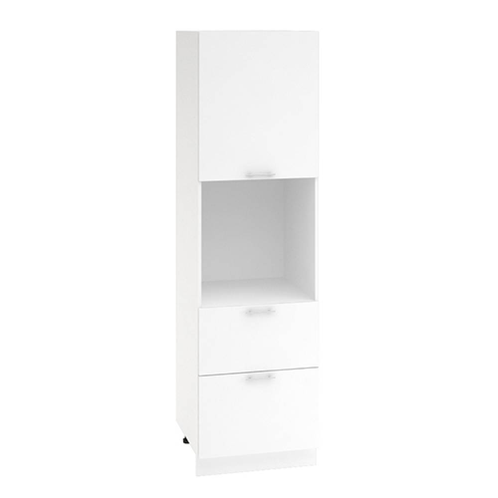 Шкаф пенал с 2 ящиками ШП 2Я 600 ВАЛЕРИЯ 1 (Белый глянец) 600 мм