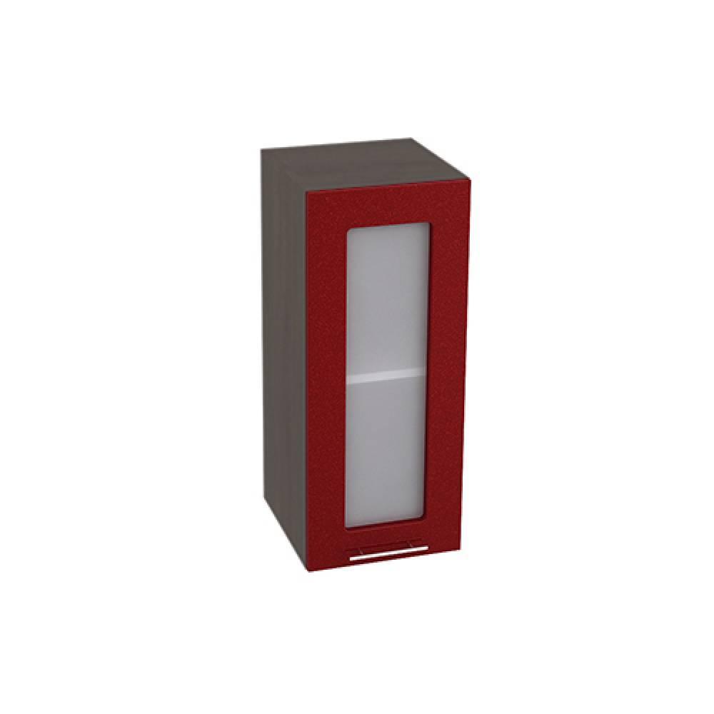 Шкаф верхний со стеклом ШВС 300 ВАЛЕРИЯ 2 (Гранатовый металлик) 300 мм