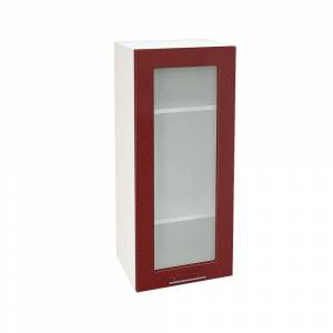 Шкаф верхний со стеклом высокий ШВС 409 ВАЛЕРИЯ 2 (Гранатовый металлик) 400 мм