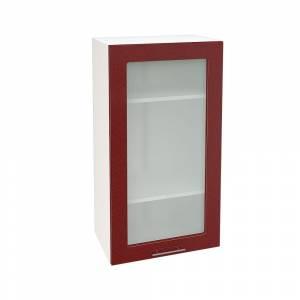 Шкаф верхний со стеклом высокий ШВС 509 ВАЛЕРИЯ 2 (Гранатовый металлик) 500 мм