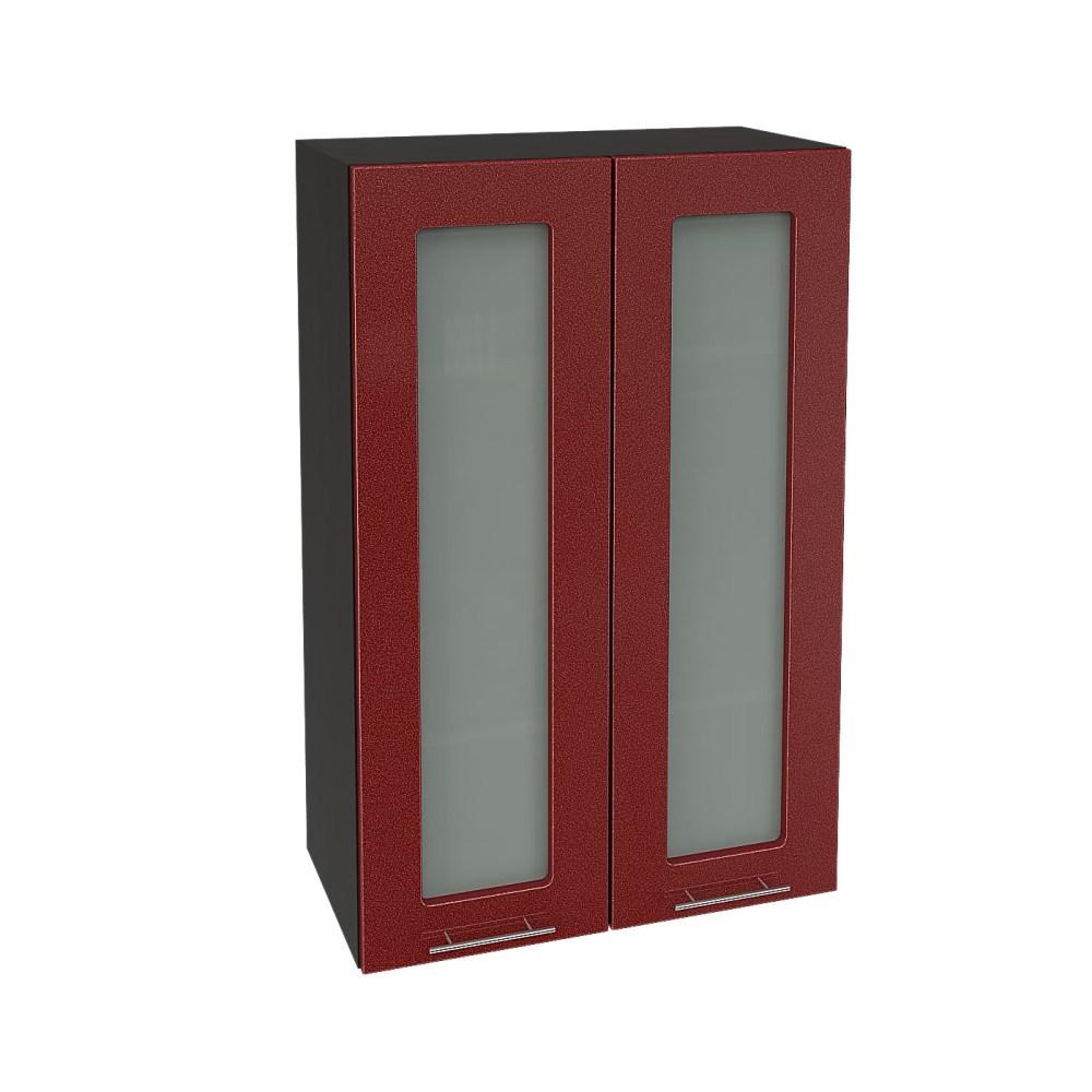 Шкаф верхний со стеклом высокий ШВС 609 ВАЛЕРИЯ 2 (Гранатовый металлик) 600 мм