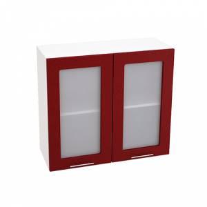 Шкаф верхний со стеклом ШВС 800 ВАЛЕРИЯ 2 (Гранатовый металлик) 800 мм