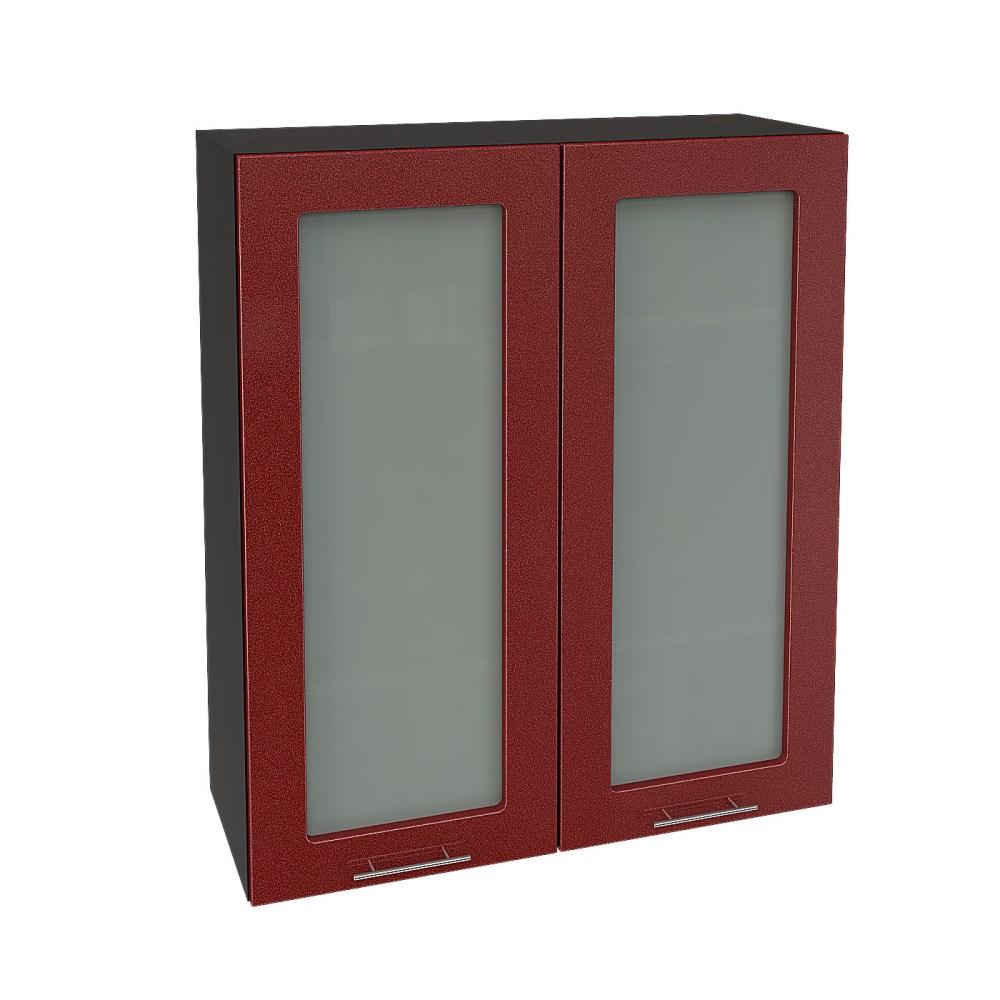 Шкаф верхний со стеклом высокий ШВС 809 ВАЛЕРИЯ 2 (Гранатовый металлик) 800 мм