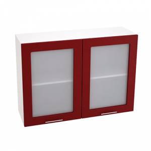 Шкаф верхний со стеклом ШВС 1000 ВАЛЕРИЯ 2 (Гранатовый металлик) 1000 мм