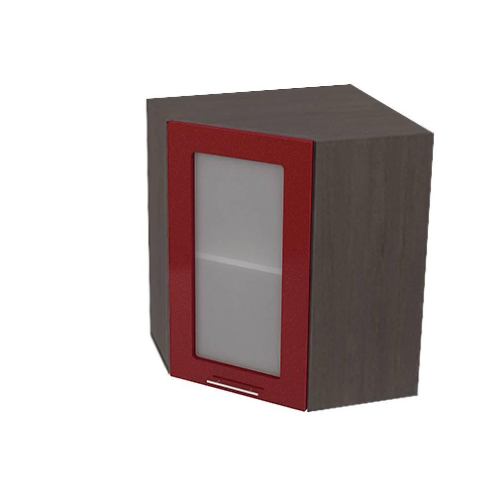 Шкаф верхний угловой со стеклом ШВУС 590 ВАЛЕРИЯ 2 (Гранатовый металлик) 590 мм