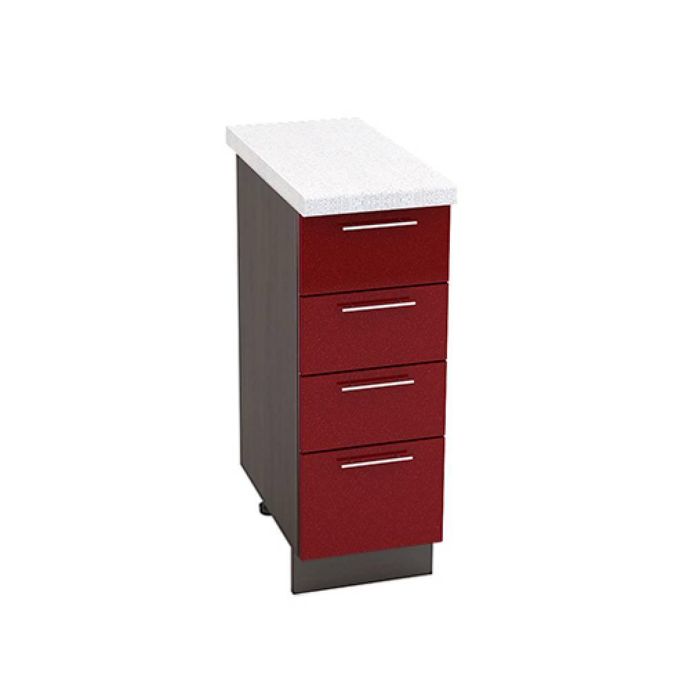 Шкаф нижний с 4 ящиками ШН4Я 300 ВАЛЕРИЯ 2 (Гранатовый металлик) 300 мм