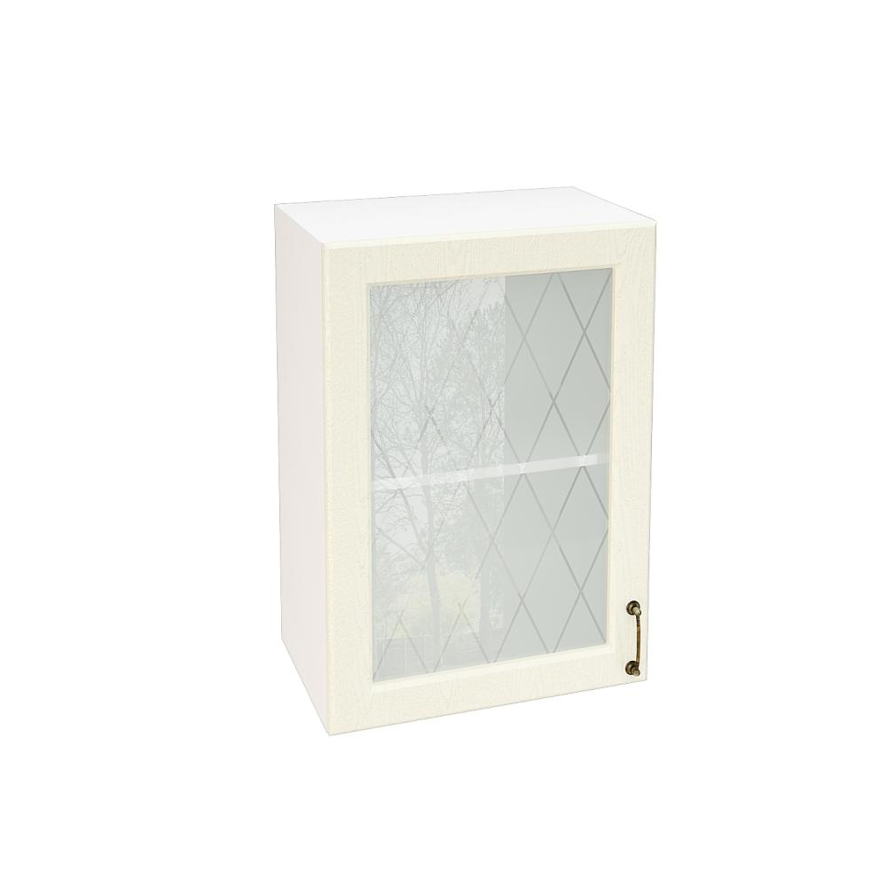 Шкаф верхний со стеклом ШВС 500 НИЦЦА (Дуб фактурный Кремовый) 500 мм
