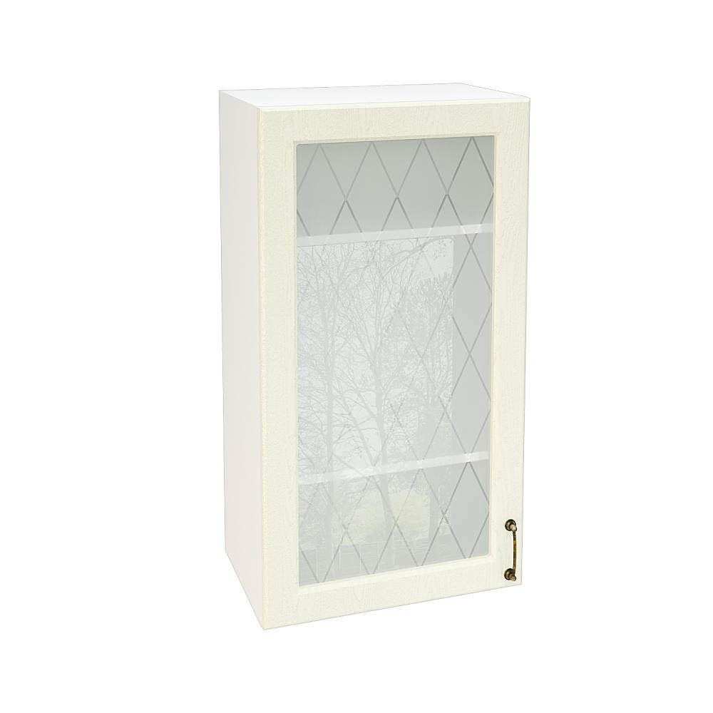 Шкаф верхний со стеклом высокий ШВС 509 НИЦЦА (Дуб фактурный Кремовый) 500 мм