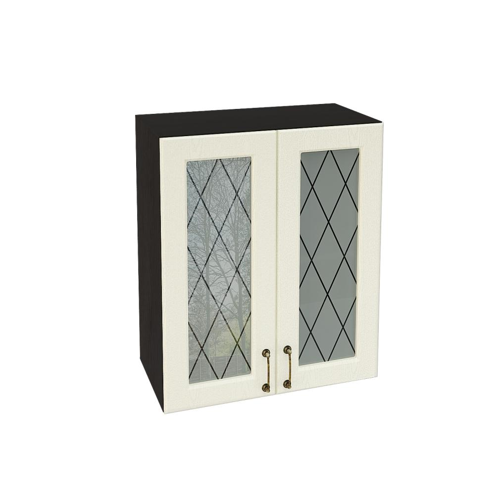 Шкаф верхний со стеклом ШВС 600 НИЦЦА (Дуб фактурный Кремовый) 600 мм