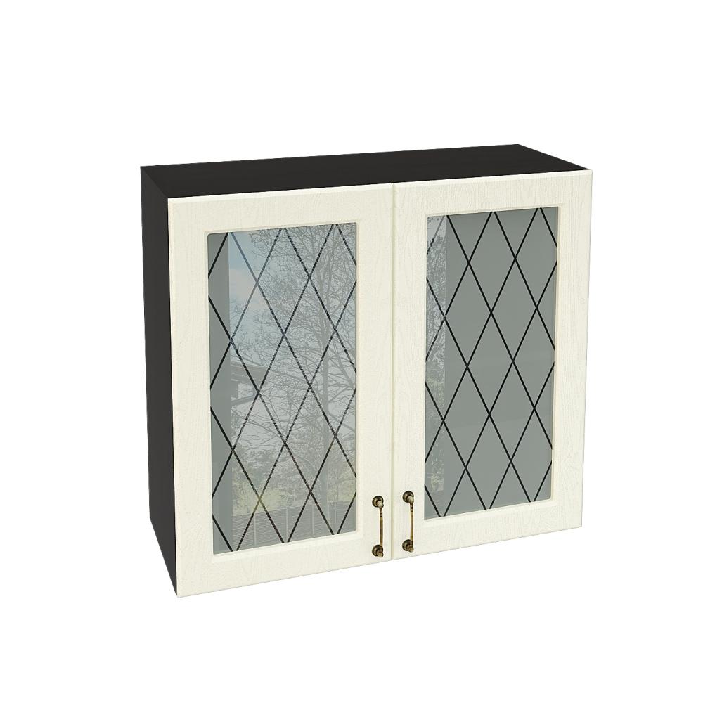 Шкаф верхний со стеклом ШВС 800 НИЦЦА (Дуб фактурный Кремовый) 800 мм