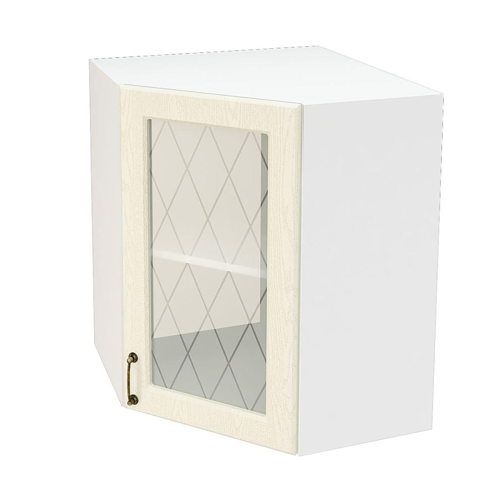 Шкаф верхний угловой со стеклом ШВУС 590 НИЦЦА (Дуб фактурный Кремовый) 590 мм