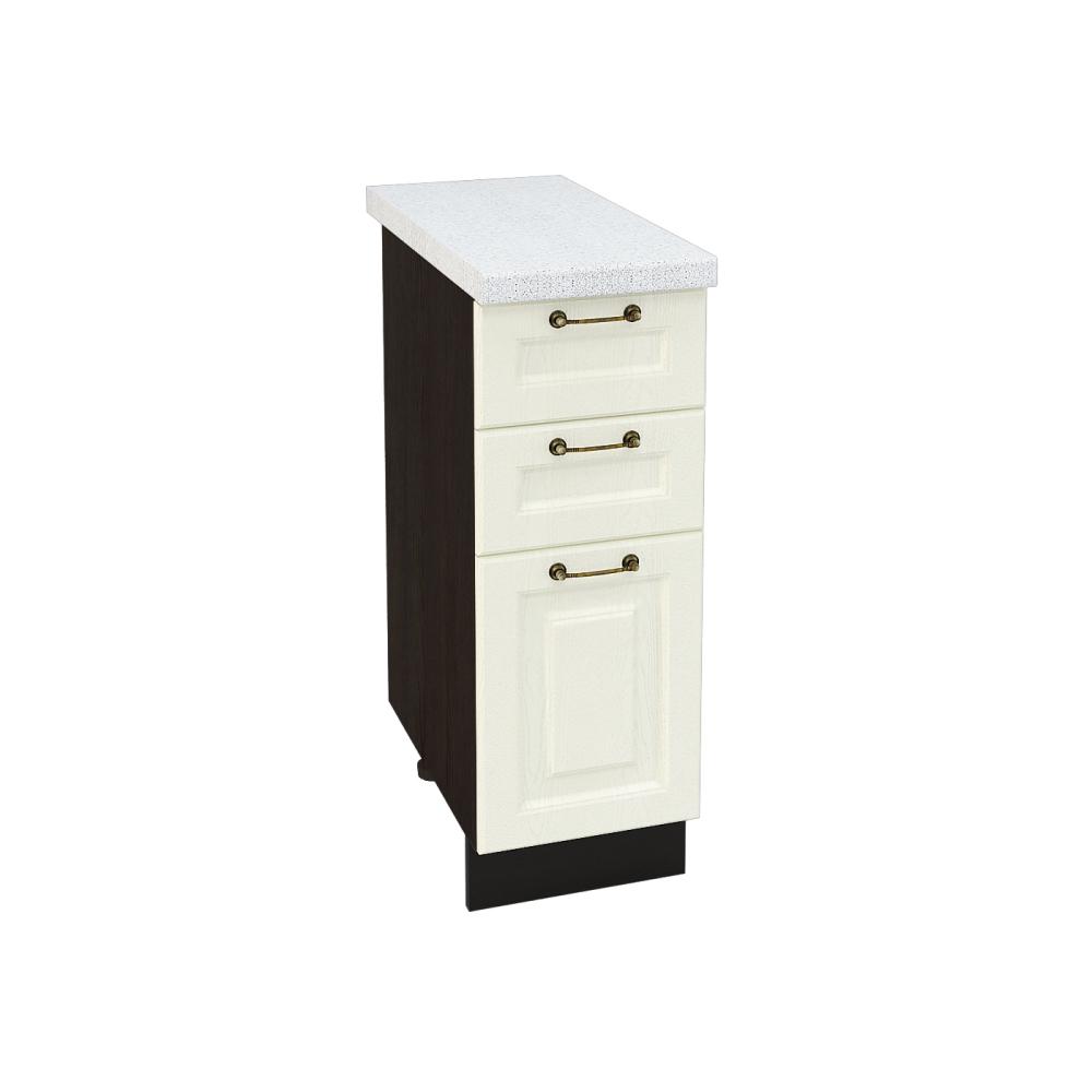 Шкаф нижний с 3 ящиками ШН3Я 300 НИЦЦА (Дуб фактурный Кремовый) 300 мм