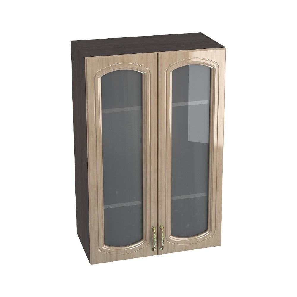 Шкаф верхний со стеклом высокий ШВС 609 СИТИ (Анегри глянец) 600 мм