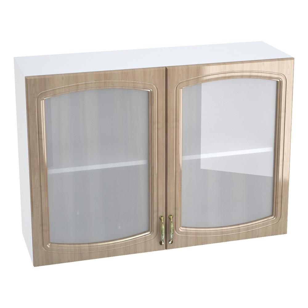 Шкаф верхний со стеклом ШВС 1000 СИТИ (Анегри глянец) 1000 мм