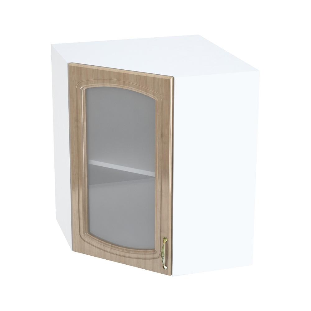 Шкаф верхний угловой со стеклом ШВУС 590 СИТИ (Анегри глянец) 590 мм