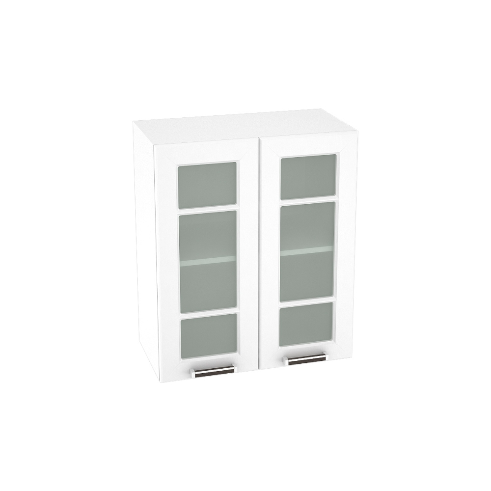 Шкаф верхний со стеклом ШВС 600 ПРАГА (Белое дерево) 600 мм