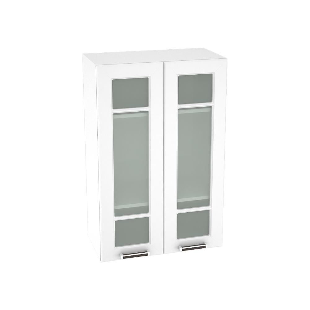 Шкаф верхний со стеклом высокий ШВС 609 ПРАГА (Белое дерево) 600 мм