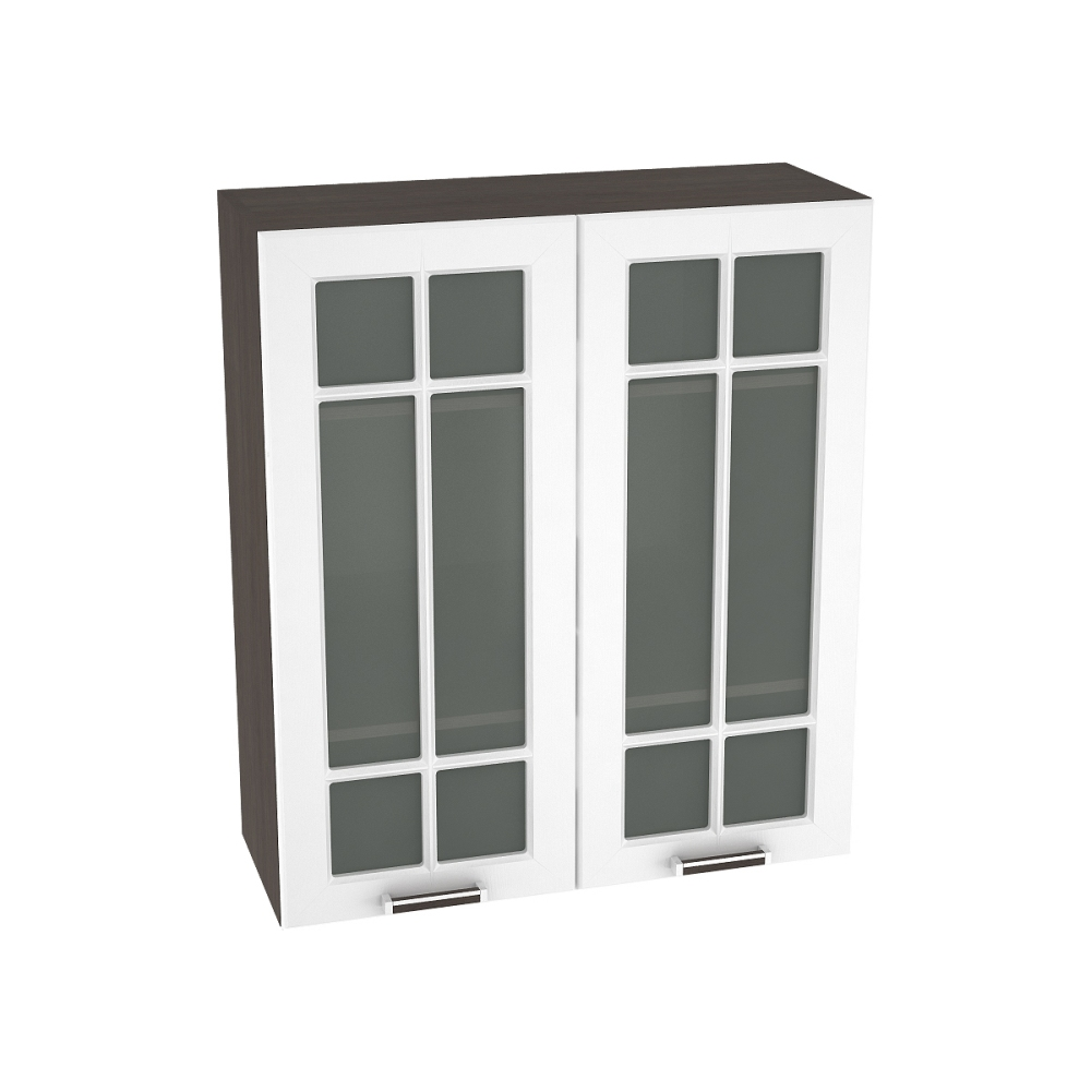 Шкаф верхний со стеклом высокий ШВС 809 ПРАГА (Белое дерево) 800 мм