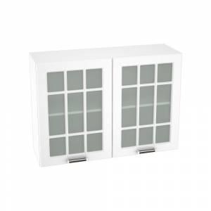 Шкаф верхний со стеклом ШВС 1000 ПРАГА (Белое дерево) 1000 мм