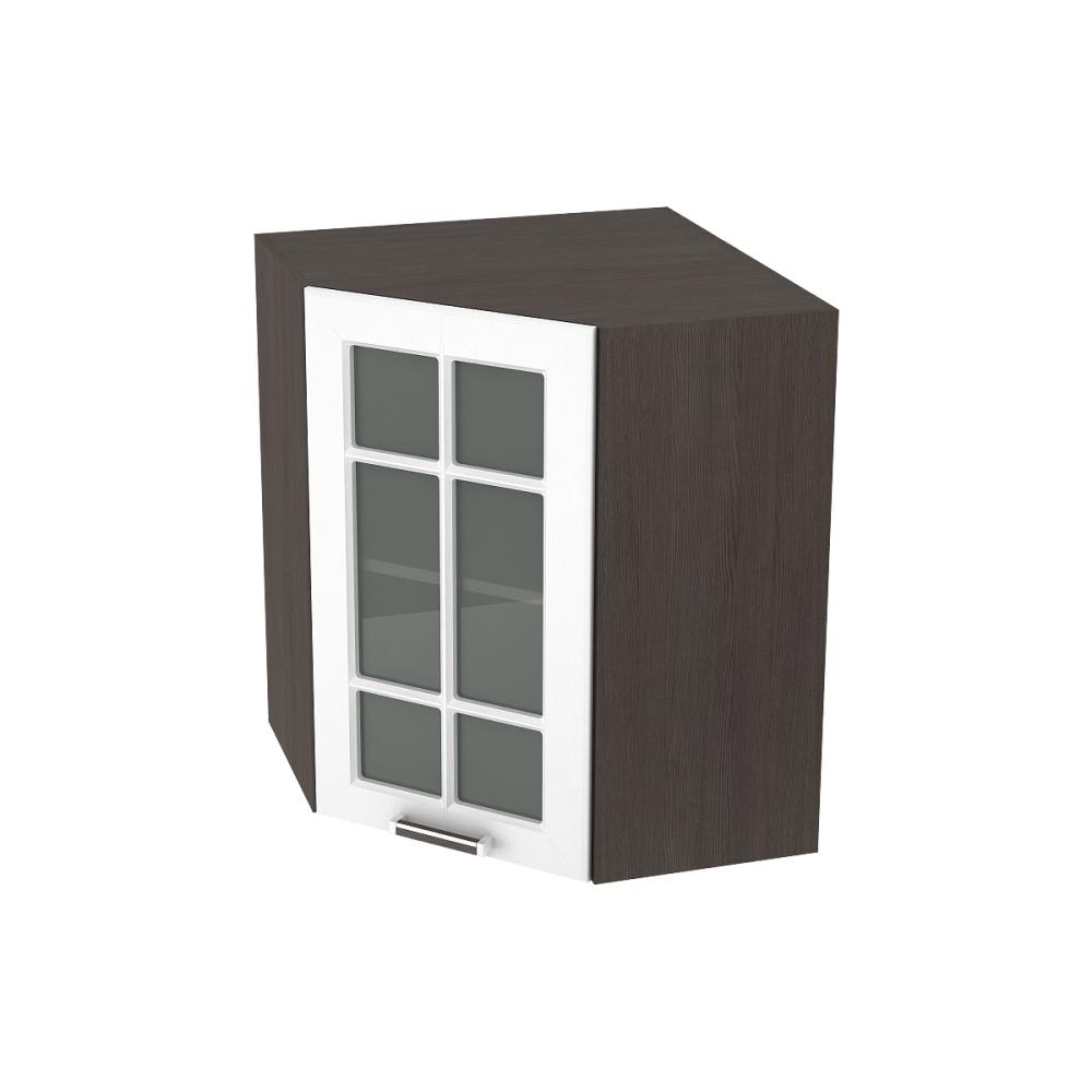 Шкаф верхний угловой со стеклом ШВУС 590 ПРАГА (Белое дерево) 590 мм