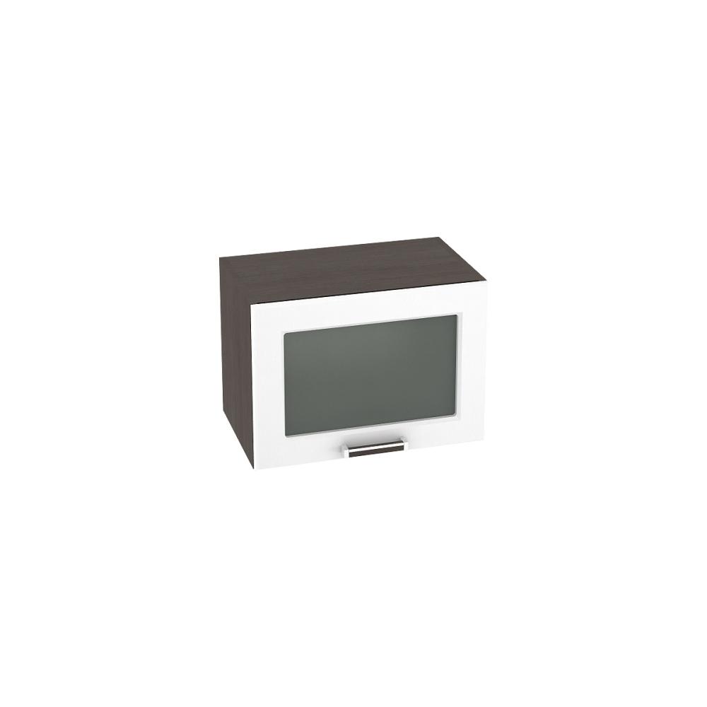 Шкаф верхний горизонтальный со стеклом ШВГС 500 ПРАГА (Белое дерево) 500 мм