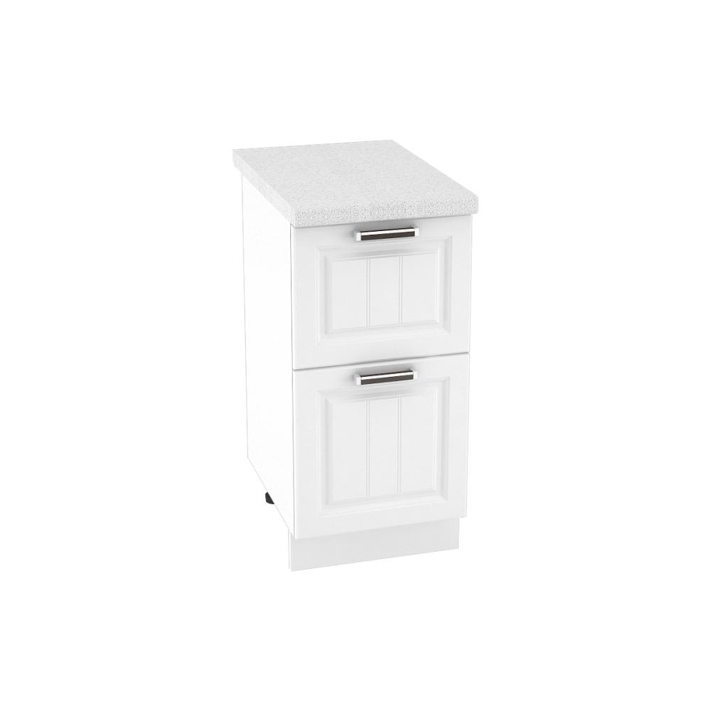 Шкаф нижний с 2 ящиками ШН2Я 400 ПРАГА (Белое дерево) 400 мм