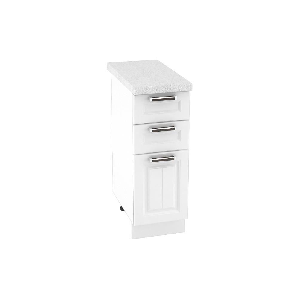 Шкаф нижний с 3 ящиками ШН3Я 300 ПРАГА (Белое дерево) 300 мм