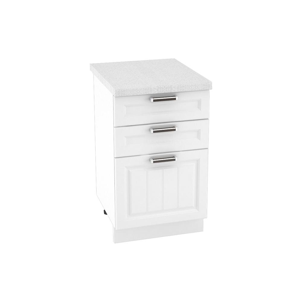 Шкаф нижний с 3 ящиками ШН3Я 500 ПРАГА (Белое дерево) 500 мм