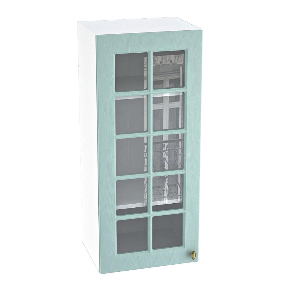 Шкаф верхний со стеклом высокий ШВС 409 ПРОВАНС (Голубой) 400 мм