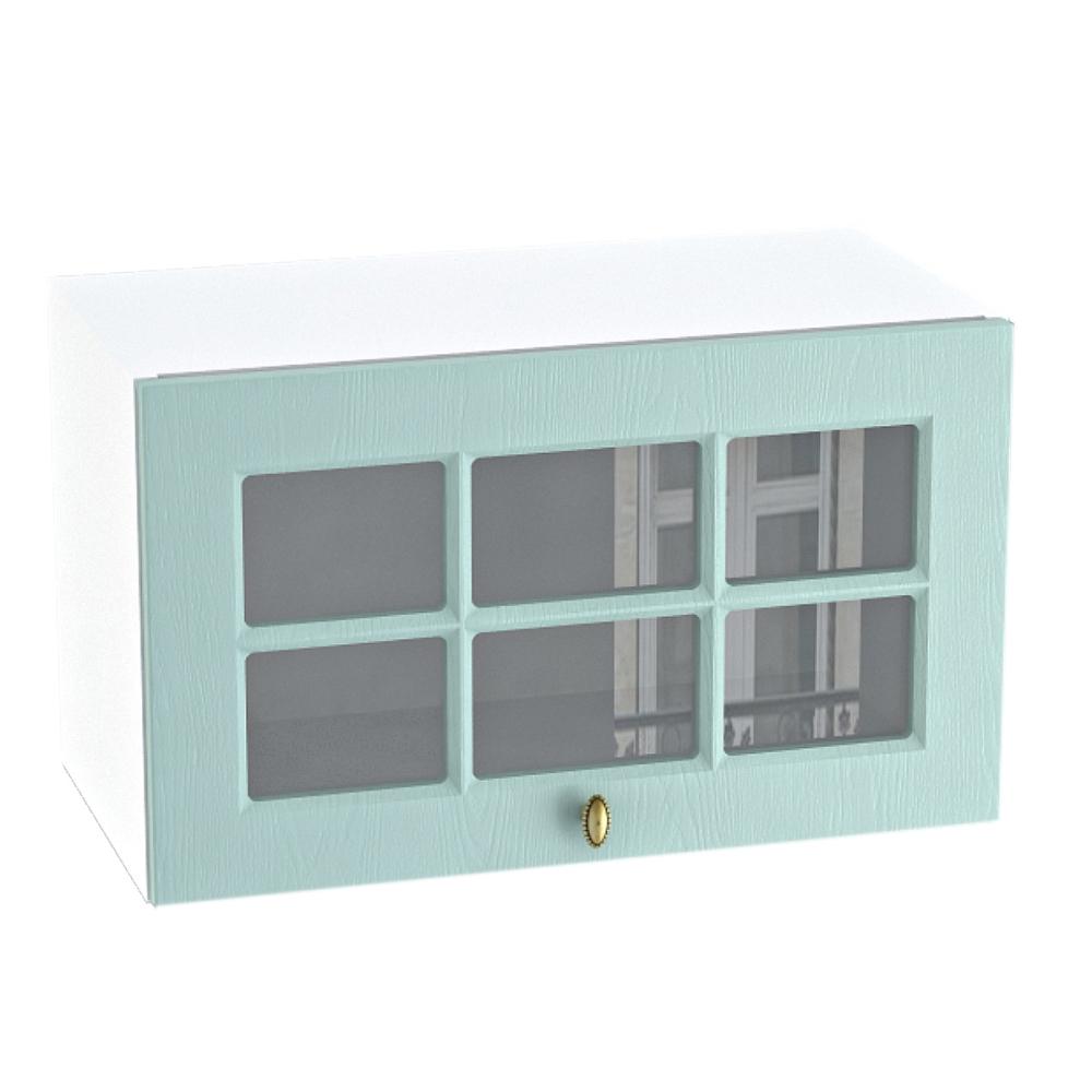 Шкаф верхний горизонтальный со стеклом ШВГС 600 ПРОВАНС (Голубой) 600 мм