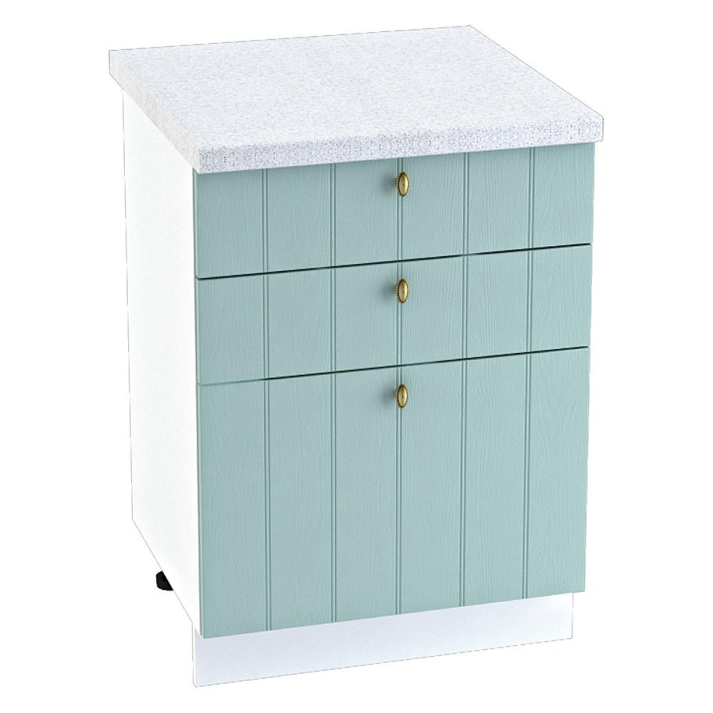 Шкаф нижний с 3 ящиками ШН3Я 600 ПРОВАНС (Голубой) 600 мм
