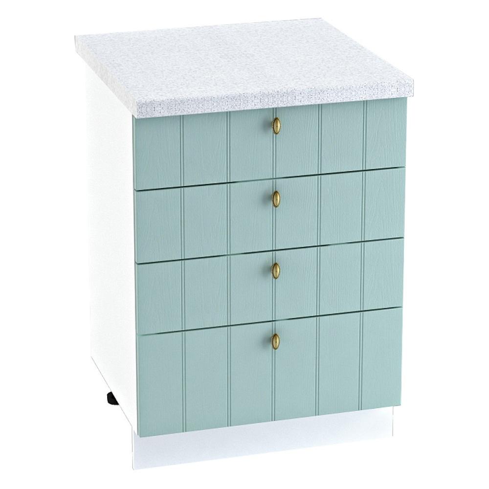 Шкаф нижний с 4 ящиками ШН4Я 600 ПРОВАНС (Голубой) 600 мм