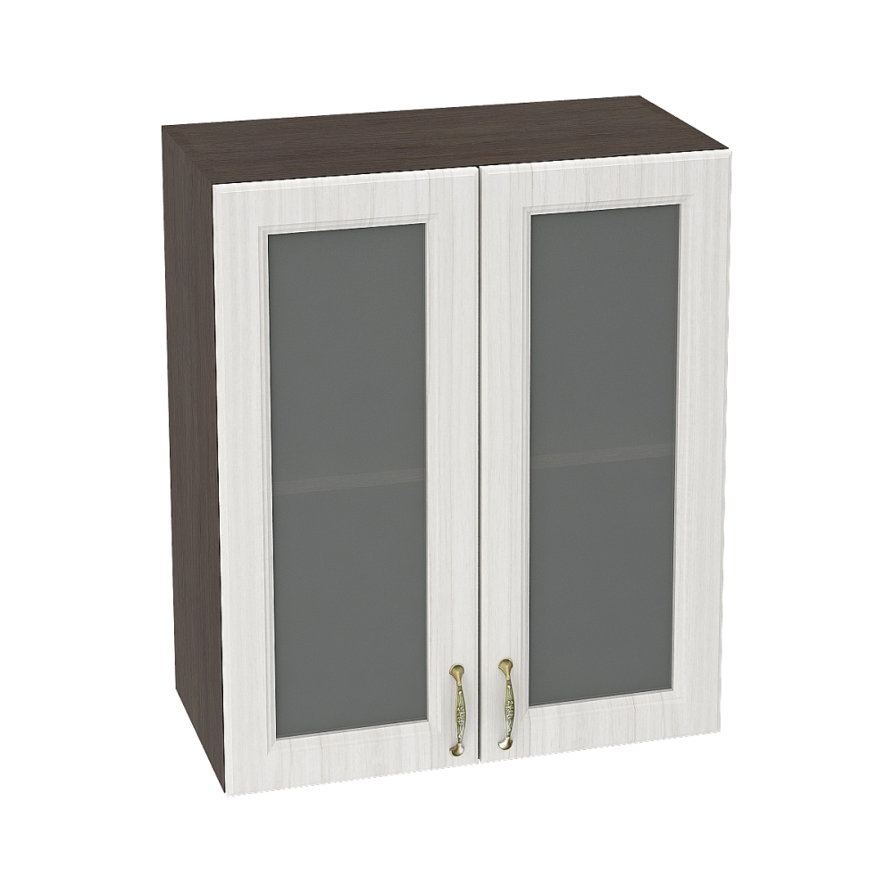 Шкаф верхний со стеклом ШВС 600 ВИКТОРИЯ (Сандал белый) 600 мм